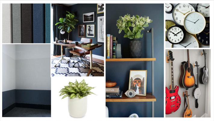 mood board & concept board for a masculine office space. blue wall paint music room