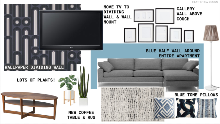 LIVING ROOM MOOD BOARD CONCEPT BOARD FOR A RELAXING MODERN LIVING ROOM WITH PEEL AND STICK WALLPAPER AND A PAINTED HALF WALL TWO TONED PAINTED WALL
