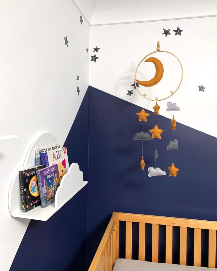 Moons & stars nursery theme. boho nursery. blue nursery mood board for a gender neutral nursery space. nursery with moons and stars and a blue palette.